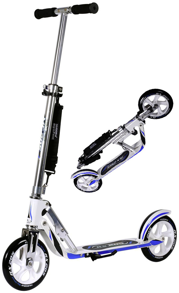 hudora big wheel rx wb 205 racing white blue cityscooter scooter 14725 ebay. Black Bedroom Furniture Sets. Home Design Ideas