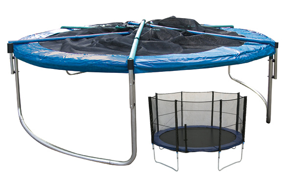hudora trampolin 305 cm incl faltbares netz blau oder 305 cm girly in pink ebay. Black Bedroom Furniture Sets. Home Design Ideas