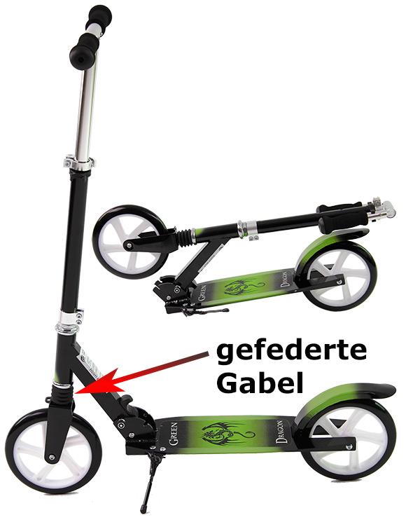 joka roller scooter uvp 99 95 mit gefederter gabel 200 rollen cityroller ebay. Black Bedroom Furniture Sets. Home Design Ideas
