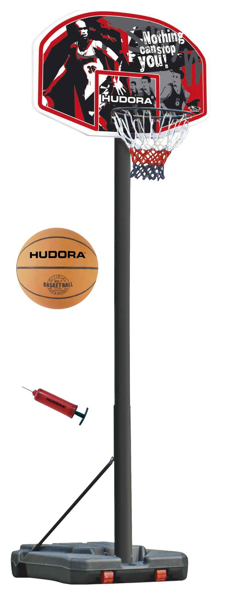 Basketballstaender-Set-incl-Ball-Pumpe-GH-305-cm-Hudora-Chicago-Basketballkorb