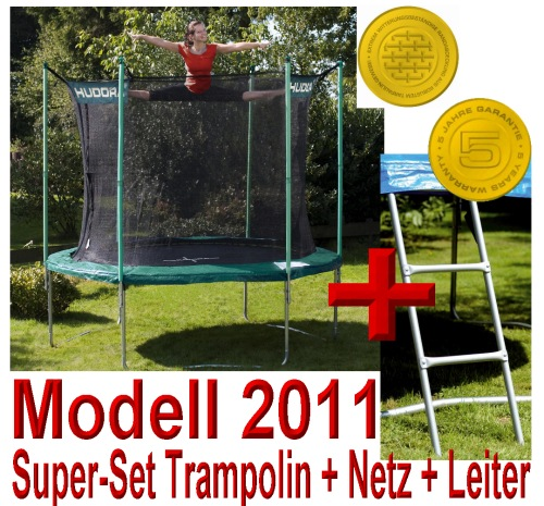 solange vorrat hudora trampolin 305 cm incl netz leiter t v gs ebay. Black Bedroom Furniture Sets. Home Design Ideas