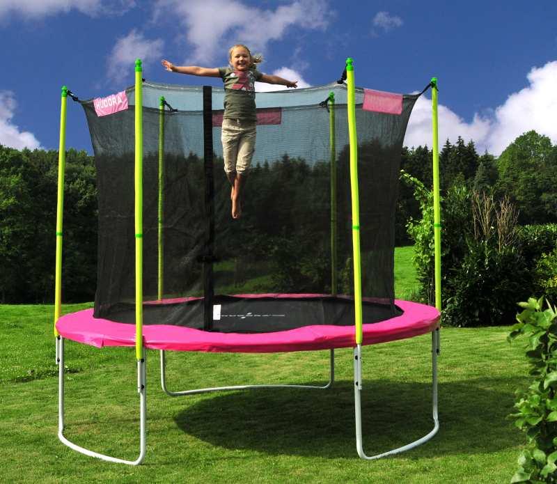einmalig bis 180 kg incl netz hudora trampolin 305 cm t v gs pink girly ebay. Black Bedroom Furniture Sets. Home Design Ideas