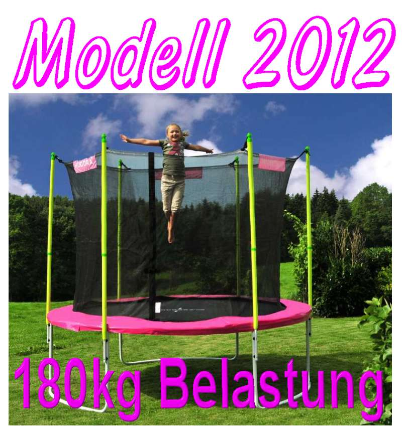 einmalig bis 180 kg incl netz hudora trampolin 305 cm t v gs pink girly ebay. Black Bedroom Furniture Sets. Home Design Ideas