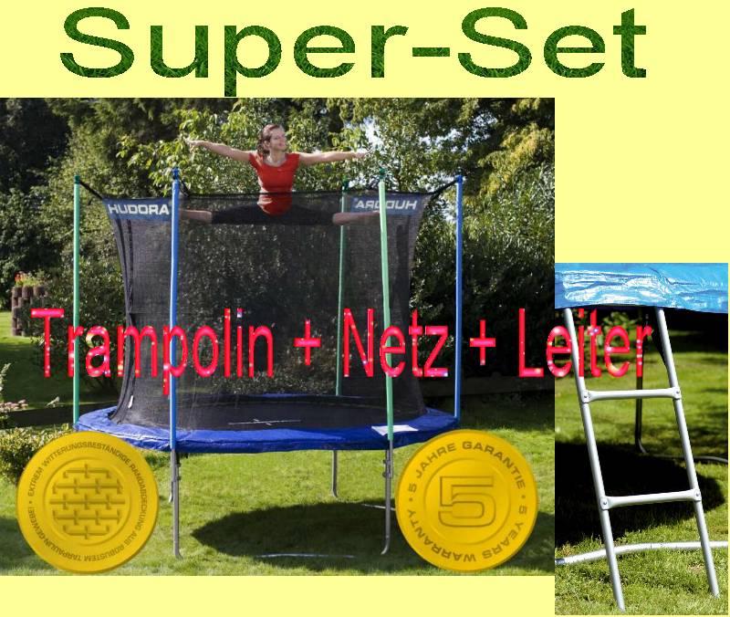 einmalig hudora trampolin 305 cm blau incl netz leiter t v gs ebay. Black Bedroom Furniture Sets. Home Design Ideas