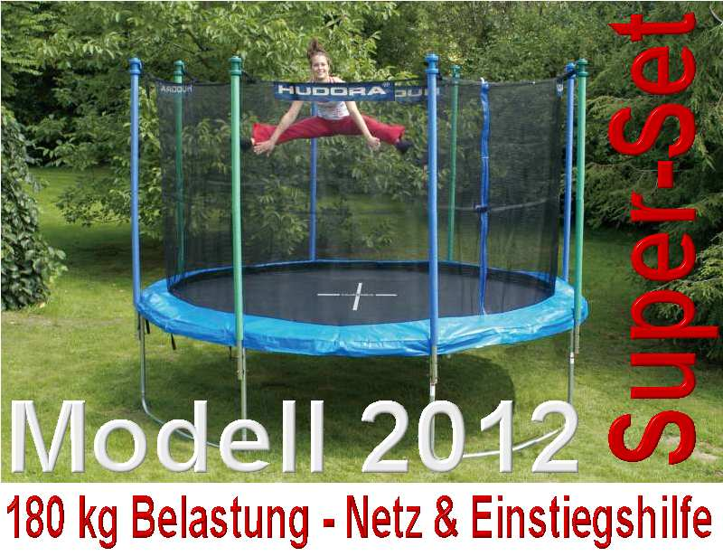 demoteil modell 2012 bis 180 kg hudora trampolin 366 cm netz einstiegshilfe ebay. Black Bedroom Furniture Sets. Home Design Ideas