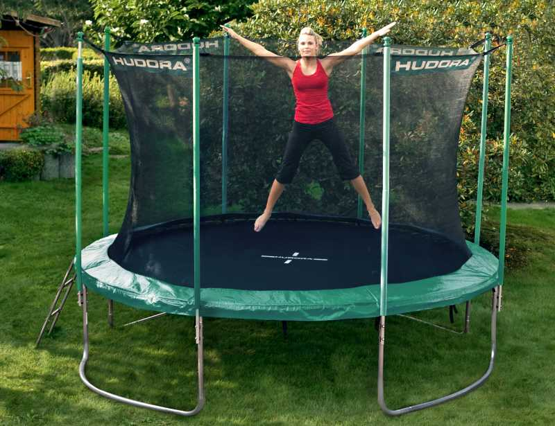 modell 2012 bis 180 kg hudora trampolin 366 cm gr n incl netz leiter t v gs ebay. Black Bedroom Furniture Sets. Home Design Ideas