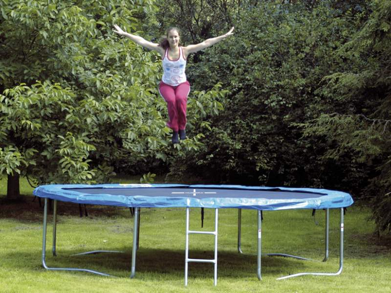 ausstellungsst ck hudora trampolin 366 150 kg belastbar incl leiter ebay. Black Bedroom Furniture Sets. Home Design Ideas
